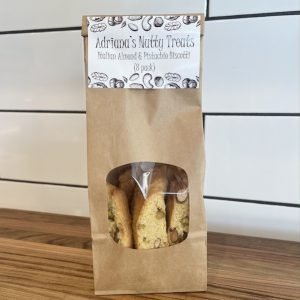 Adriana's Nutty Treats Italian almond and pistachio biscotti 8 pack
