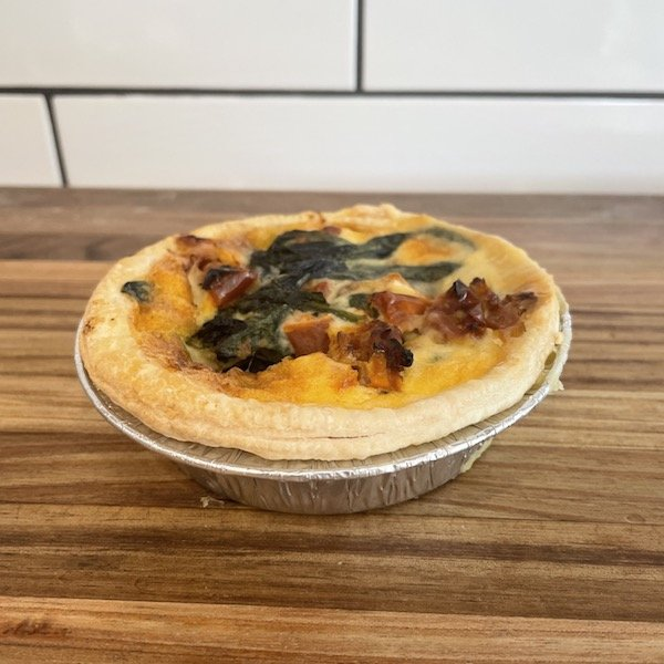 Spinach pine nut and brie tart. Vegetarian